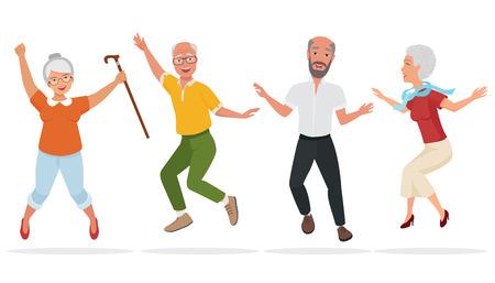 Grupa osób starszych razem. Aktywne i szczęśliwe starych skoków seniorów. Ilustracji wektorowych kreskówek.