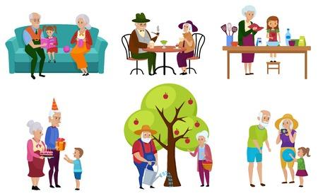 Set van geïsoleerde senior mensen en hun kleinkinderen doen activiteiten vectorillustratie.