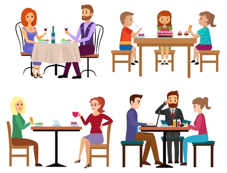 Eating people set. Couple friends family children and businessman sitting in restaurant cafe or bar isolated. Cartoon vector illustration. Vettoriali