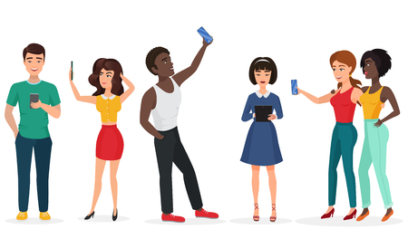 smartphone: People with gadgets making selfie. Guys and girls, communicating by phone and tablets. Cartoon vector illustration.