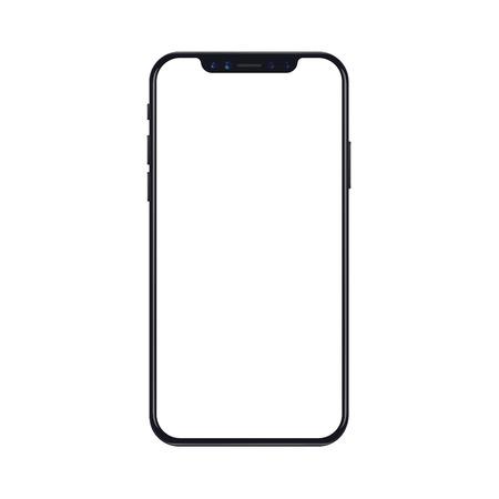 Maqueta de teléfono móvil inteligente aislado sobre fondo blanco con pantalla en blanco. Ilustración vectorial realista