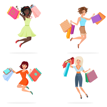 Happy women jump with shopping bags. Young girls jumping holding packages with purchases. Cartoon vector illustration. Illustration
