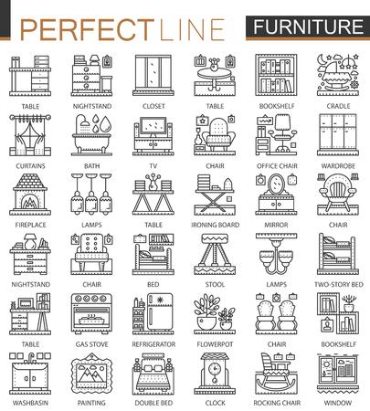 kitchen cabinets: Furniture outline mini concept symbols. Interior furniture modern stroke linear style illustrations set. Perfect thin line icons. Illustration