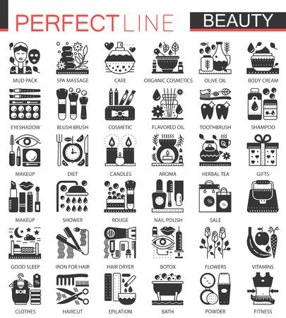 美容化粧品古典的な黒のミニコンセプトシンボル。ベクトルコスメティックモダンアイコンピクトグラムイラストセット。