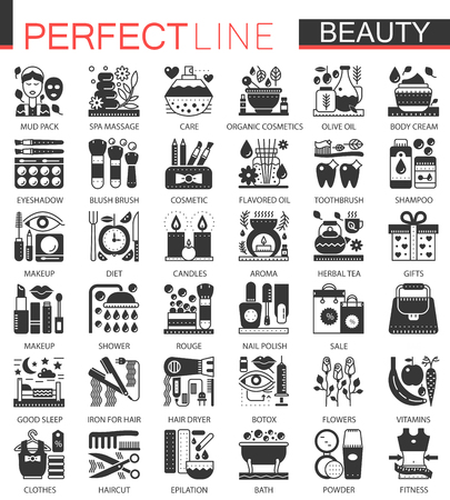 Beauty Cosmetics classic black mini concept symbols. Vector Cosmetic modern icon pictogram illustrations set.