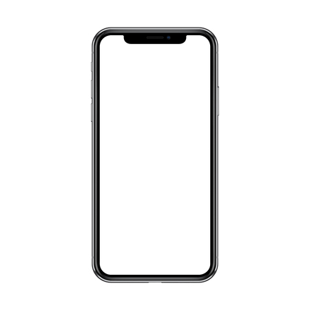 Smartphone with blank white screen. Isolated on white background. Realistic vector illustration.