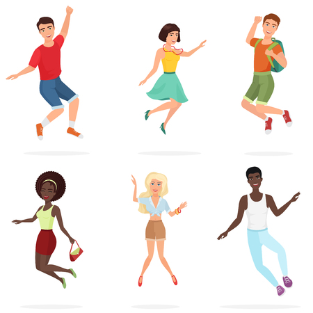 Happy group of multi ethic teen friends jumping. Cartoon people character vector illustration.