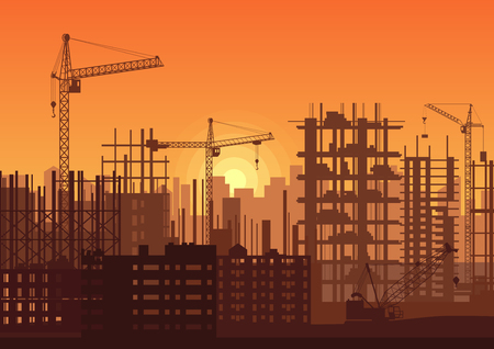 Tower cranes on construction site in sunset. Buildings under construction in sunrise. City skyline silhouette vector illustration.