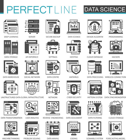 Data science technology classic black mini concept symbols. Machine learning process modern icon pictogram vector illustrations set.