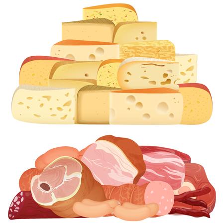 異なる現実的な繊細さチーズ、白で隔離食欲をそそる肉の杭。  イラスト・ベクター素材