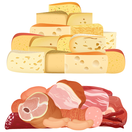 Piles of different realistic delicacy cheeses and appetizing meat isolated on white.