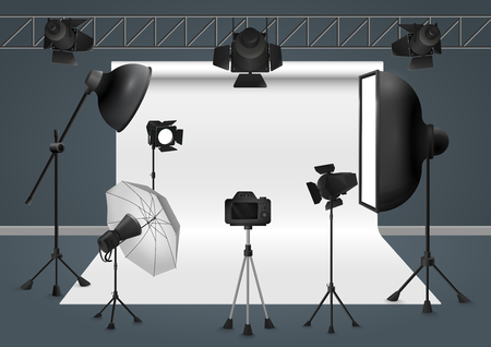 photography backdrop: Photo studio with camera, lighting equipment flash spotlight, softbox and background. Vector illustration.