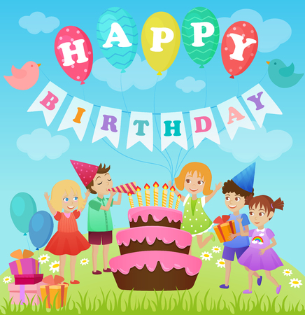 baby announcement card: Birthday party for kids. Cartoon vector illustration.