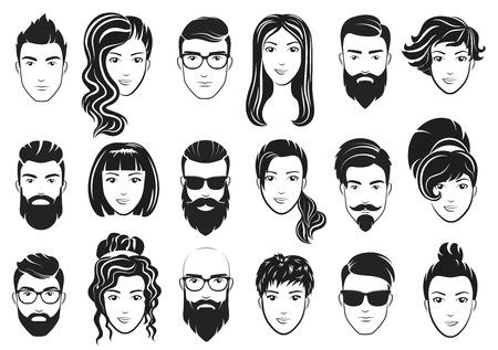 Illustration vectorielle des hommes avec une barbe élégante et des femmes avec de beaux cheveux. Ensemble de coiffures masculines et féminines.