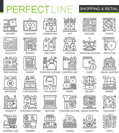 Shopping outline mini concept symbols. E-commerce retail modern stroke linear style illustrations set. Perfect thin line icons.