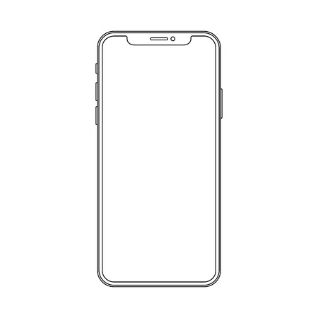 Outline line drawing modern cell phone