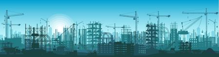건설중인 건물의 실루엣 일러스트
