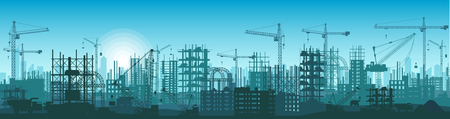 Silhouette of buildings under construction in process