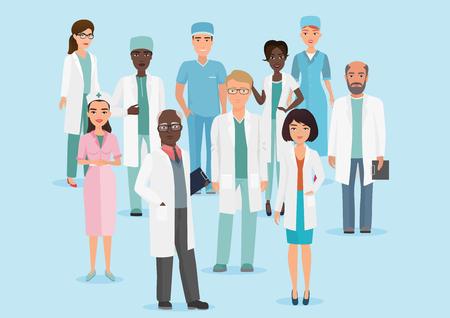 Vector Cartoon illustration of Hospital medical staff team doctors and nurses. Illustration