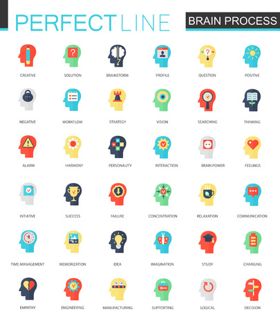 Mind power and brain process icons