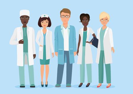 病院の医療スタッフチーム、医師や看護師の文字のベクトル漫画のイラスト。医学的概念。