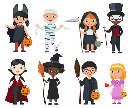 Cute Halloween kids set. Cartoon vector illustration