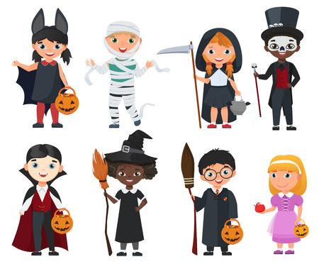Cute zestaw dla dzieci Halloween. Ilustracji wektorowych kreskówek