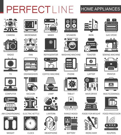 audio mixer: Home appliances classic black mini concept symbols. Household modern icon pictogram vector illustrations set.