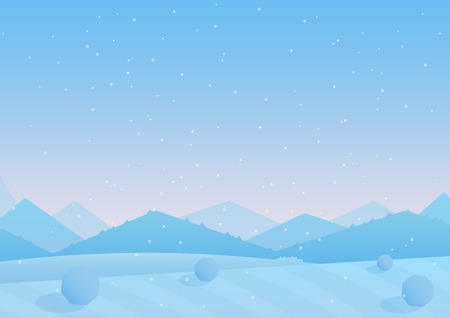 Vector illustration of blue colorful snowy hills background. Winter simple landscape.