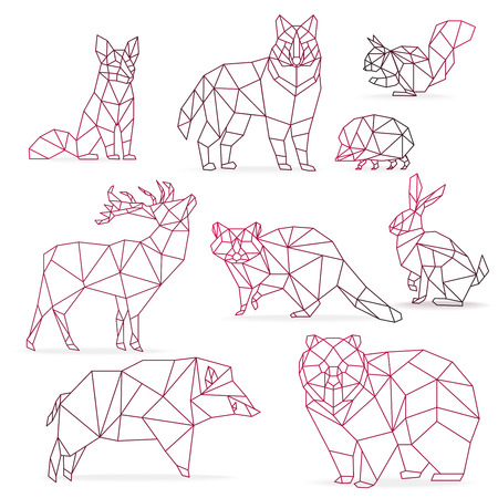 Origami of different animal icon.