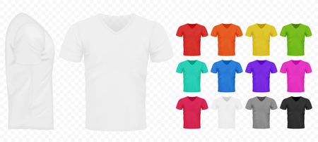 Black, white and other basic color men simple t-shirts set. Realistic design template Vector illustration.