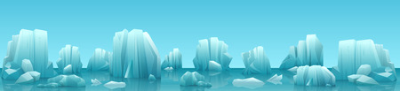 tip of iceberg: Vector wide web banner illustration of arctic landscape with icebergs and mountains. Winter panorama background.