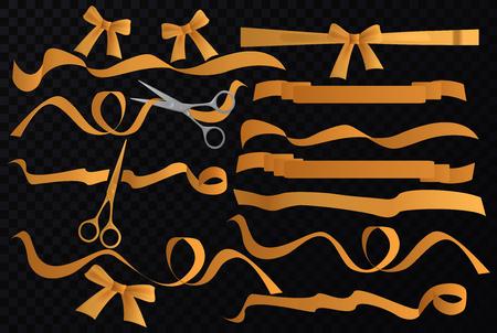 Vector Golden tapes ribbons set with scissors on the transperant alpha black background. Ilustração