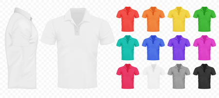 Black, white and other basic color men t-shirts set. Design template. Realistic Vector illustration on the transperant alpha background. Ilustração