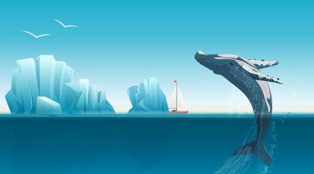 Card template with whale jumping under the blue ocean surface near icebergs. Winter arctic vector illustration. Iceland. Иллюстрация