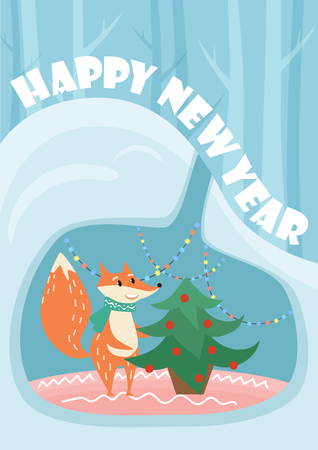 lair: New Year vector card with cute fox and decorated fir tree in lair. Illustration