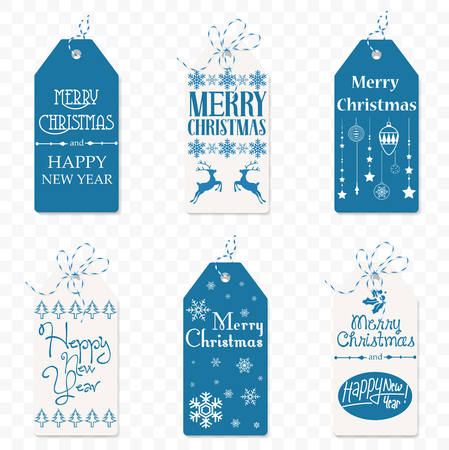 Set of Vector christmas label. Christmas tag. New Year sign symbol isolated on the transperant baclground. Banco de Imagens - 87885313