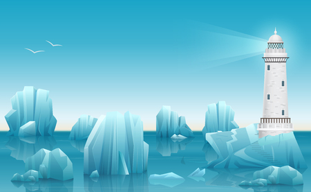 Vector Winter landscape of Lighthouse in the ice arctic ocean or sea with icebergs. Ilustração