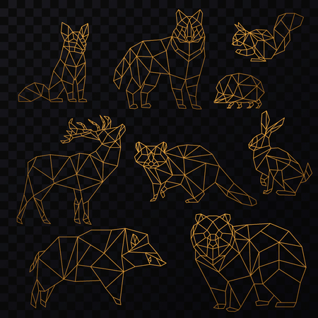 Low poly cgolden line animals set. Origami poligonal gold line animals. Wolf bear, deer, wild boar, fox, raccoon, rabbit and hedgehog on the transperant background.