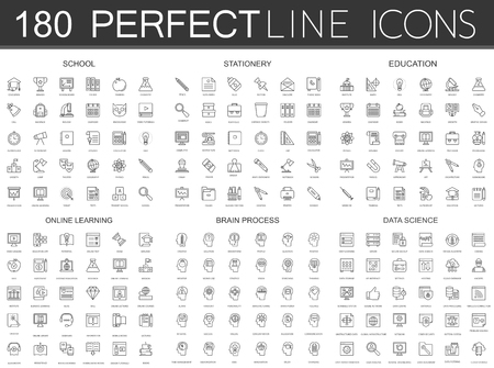 180 modern thin line icons set of school, stationery, education, online learning, brain process, data science.
