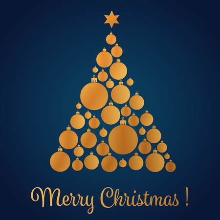 Vector illustration of yellow gold colored Christmas tree made with decorative balls. Christmas card.