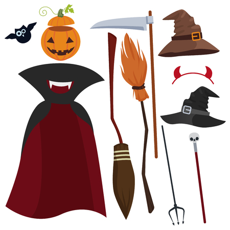 spit: Vector Halloween magic equipment and clothes set. Hat, raincoat, trident and others.