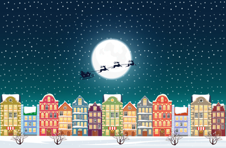 Santa Claus flies over a decorated snowy old city town near moon at Christmas eve.