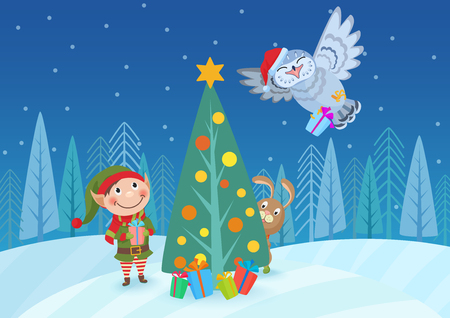 Vector illustration of adorable elf and animals at Christmas tree in forest.