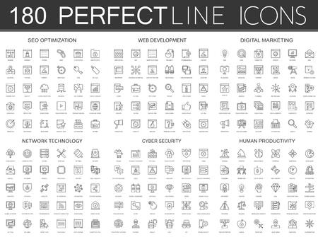 180 modern thin line icons set of seo optimization, web development, digital marketing, network technology and more. Vettoriali