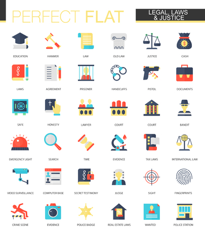 Vector set of flat law legal and justice icons Vektorové ilustrace