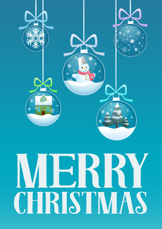 Vector illustration of greeting card and Christmas transperant glass balls with toys and decorations inside.