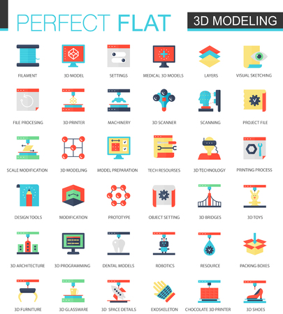 Vector set of flat 3d printing and modeling icons. Illustration
