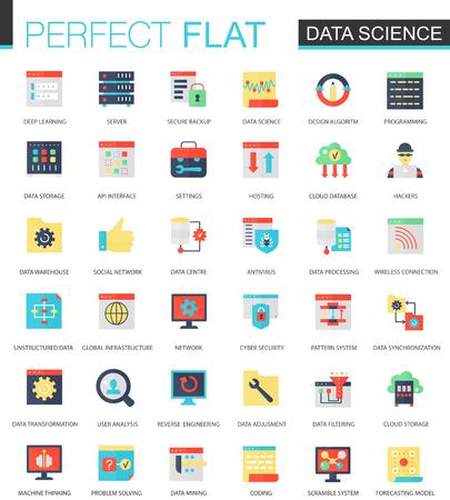Vector set of flat data science, big data analytics, clous computing icons.