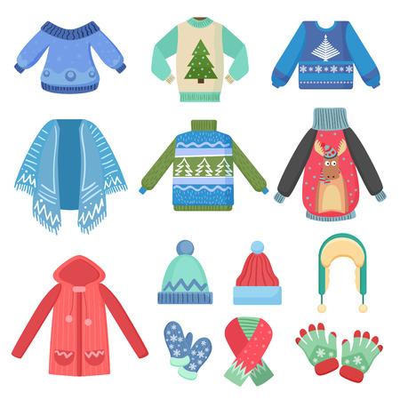 Zestaw świątecznych ciepłych zimowych ubrań. Szalik, czapka zimowa, płaszcz i czapki, kurtka i rękawiczki. Ilustracja wektorowa moda zimowa.